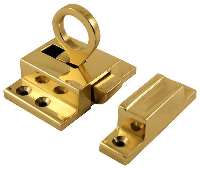 Polished Brass Ring Pull Window Fanlight Catch 57x38mm