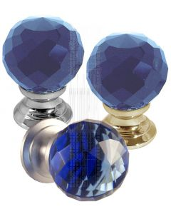 Blue Cut Glass Cupboard Knobs