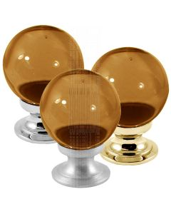 Amber Glass Ball Cupboard Knobs