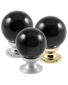 Black Glass Ball Cupboard Knobs