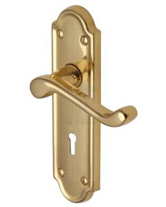 Meridian Scroll Lever Polished Brass Keyhole Door Handles