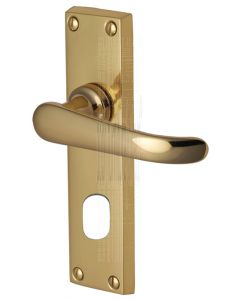Windsor Straight Lever Polished Brass Oval Cylinder Door Handles