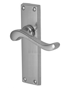 Bedford Scroll Lever Polished Chrome Long Plate Latch Door Handles