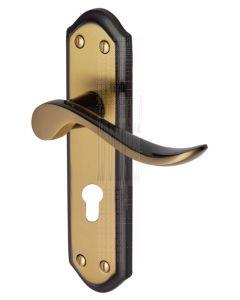 Sandown Curved Lever Brass and Bronze 48mm EURO Door Handles