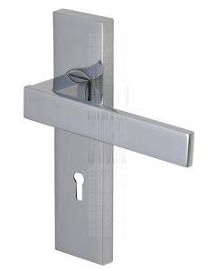 Delta Straight Lever Polished Chrome Keyhole Door Handles