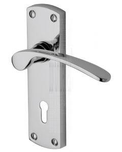 Luca Polished Chrome Curved Lever Keyhole Door Handle Set