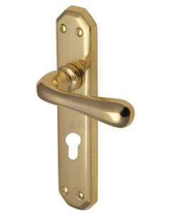 Charlbury Contoured Lever Polished Brass 48mm Euro Door Handles