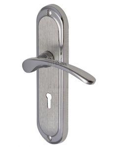 Ambassador Curved Lever Dual Finish Chrome Keyhole Door Handles