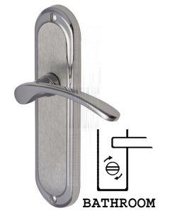 Ambassador Curved Lever Dual Finish Chrome Bathroom Lock Door Handles