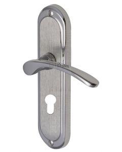 Ambassador Curved Lever Dual Finish Chrome 48mm Euro Door Handles