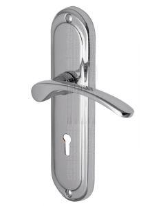 Ambassador Curved Lever Polished Chrome Keyhole Door Handles