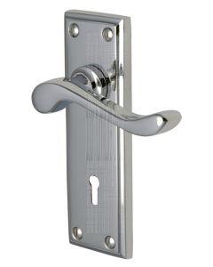 Edwardian Scroll Lever Polished Chrome Keyhole Door Handles