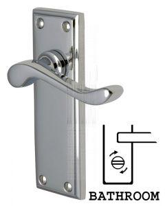 Edwardian Scroll Lever Polished Chrome Bathroom Door Handles