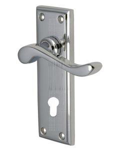 Edwardian Scroll Lever Polished Chrome 48mm Euro Cylinder Door Handles