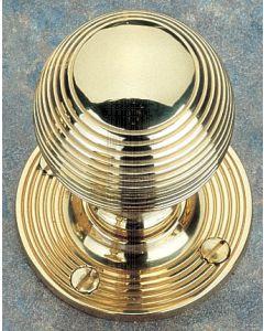 Unlacquered Brass Reeded Mortice Door Knobs 48mm