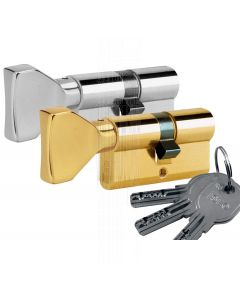 R6 6 Pin Key and Flat Turn Euro Cylinder 30x30mm to 40x50mm