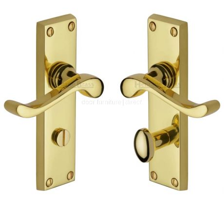 Bedford Scroll Lever Polished Brass Bathroom Lock Door Handles