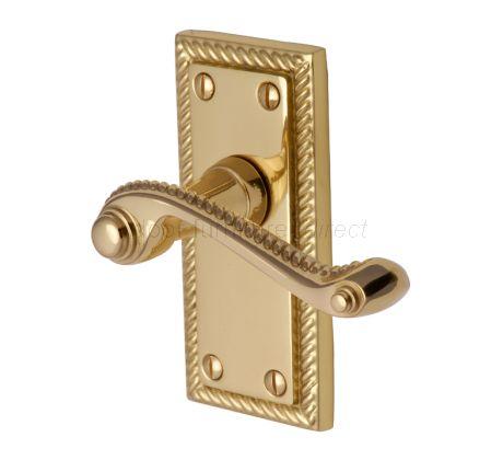 Sold As A Pair w Screws Georgian Brass Scroll Latch Door Handles