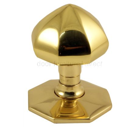 Polished Brass Faceted Front Door Knob 2.5in (64mm)