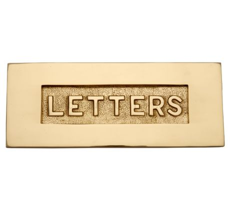 Polished Brass Letter Box 10x4in (254x101mm) with Raised LETTERS