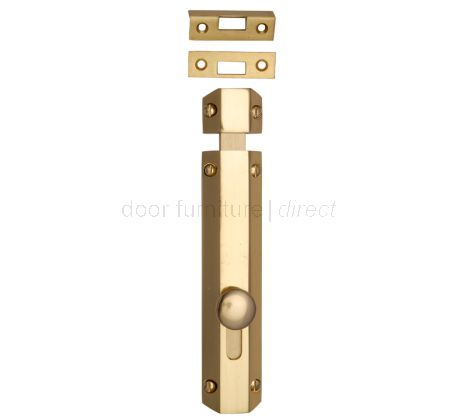 Polished Brass Decorative Flat Door Bolt 8in (200mm)