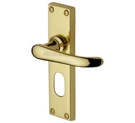 Windsor Straight Lever Polished Brass Oval Cylinder Door Handles
