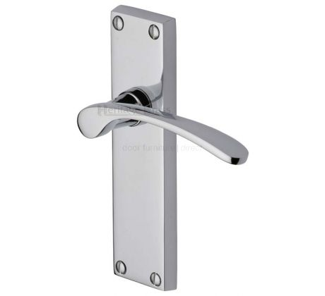 Sophia Curved Lever Polished Chrome Long Plate Latch Door Handles