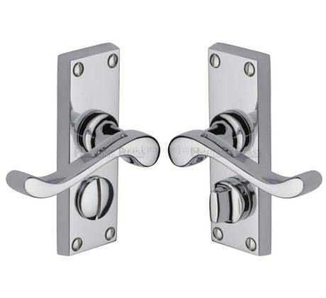 Bedford Scroll Lever Polished Chrome Privacy Door Handles