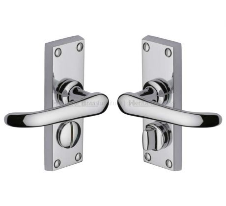 Windsor Straight Lever Polished Chrome Privacy Door Handles