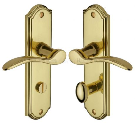 Howard Curved Lever Polished Brass Bathroom Lock Door Handles