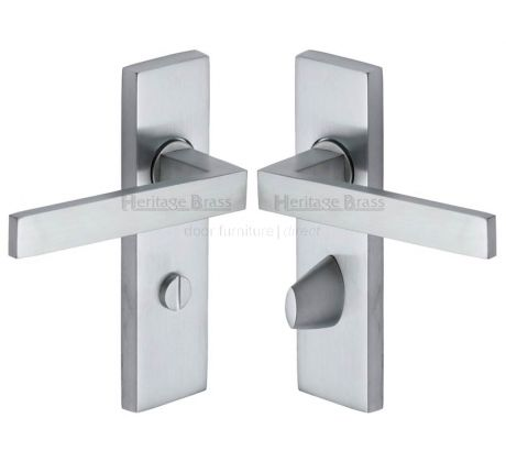 Delta Straight Lever Satin Chrome Bathroom Door Handles
