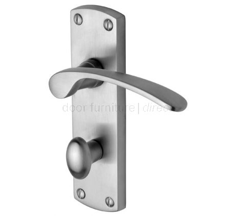 Luca Curved Lever Satin Chrome Bathroom Lock Door Handle Set