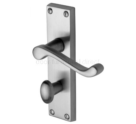 Malvern Scroll Lever Satin Chrome Bathroom Lock Door Handle Set