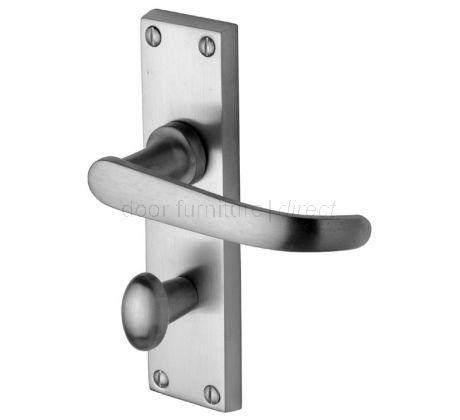 Avon Straight Lever Satin Chrome Bathroom Door Handle Set
