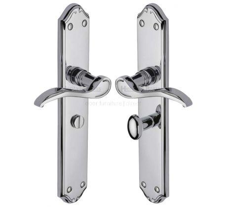 Verona Scroll Lever Polished Chrome Bathroom Lock Door Handles