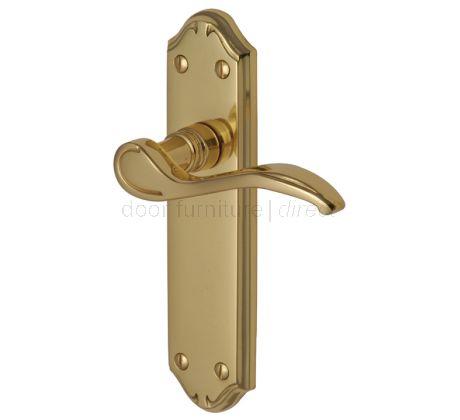 Verona Small Scroll Lever Polished Brass Latch Door Handles