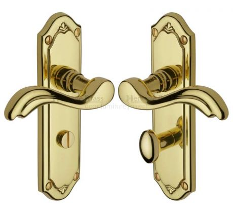 Lisboa Scroll Lever Polished Brass Bathroom Door Handles