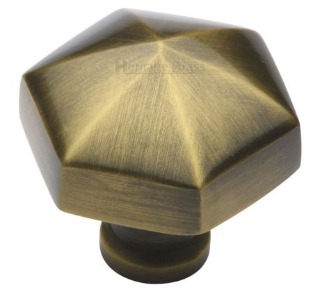 Antique Brass Hexagon Cabinet Knob 32mm