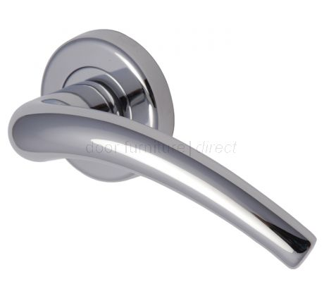 Wing Polished Chrome Curved Lever on Round Rose