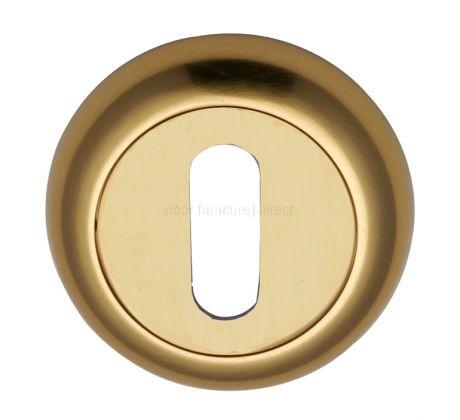 Polished Brass Curved Key Hole Escutcheon 48mm