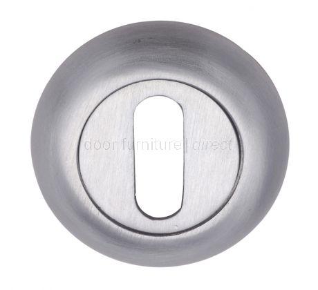 Satin Chrome Curved Key Hole Escutcheon 48mm