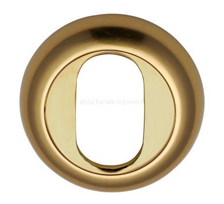 Polished Brass Curved Oval Profile Escutcheon 48mm