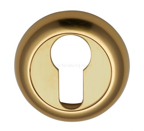 Polished Brass Curved Euro Profile Escutcheon 48mm