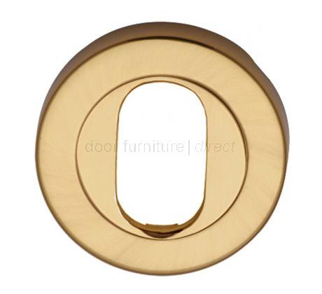 Polished Brass Round Oval Profile Escutcheon 53mm