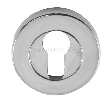 Polished Chrome Round Euro Profile Escutcheon 53mm