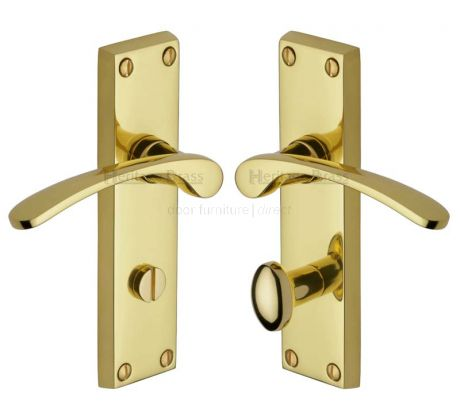 Sophia Curved Lever Polished Brass Bathroom Door Handles