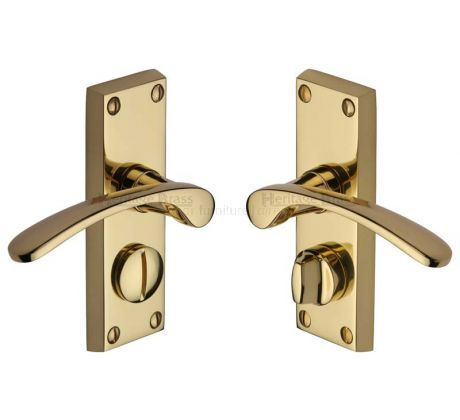 Sophia Curved Lever Polished Brass Privacy Door Handles