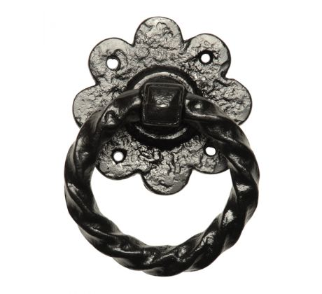 Black Antique Iron Twisted Ring Gate Handle 101mm 632