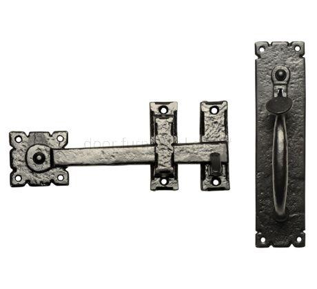 Black Antique Iron Door Thumb Latch Set 254x63mm 671
