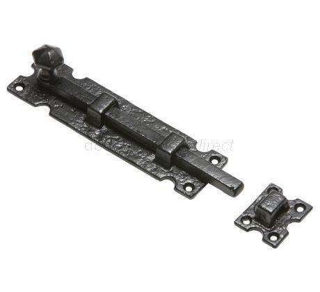 Black Antique Iron Straight Door Bolt 203mm 812